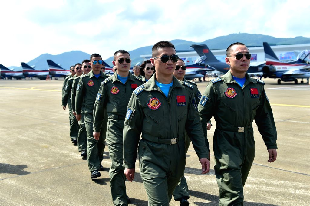 ZHUHAI, Oct. 26, 2016 - J-10 fighter jet pilots of China's Bayi Aerobatic Team arrive at Zhuhai airport in Zhuhai, south China's Guangdong Province, Oct. 26, 2016. The Bayi Aerobatic Team of seven ...