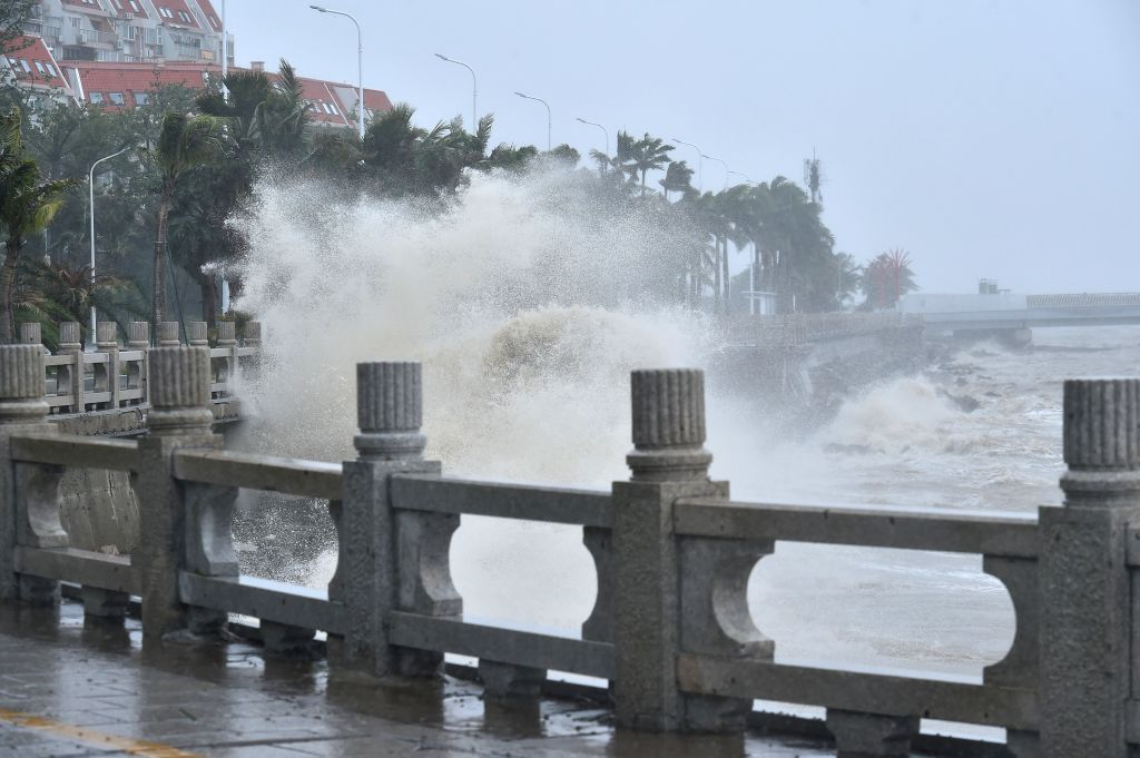 ZHUHAI, Sept. 16, 2018 - Photo taken on Sept. 16, 2018 shows the waves near a seaside in Zhuhai, south China's Guangdong Province. According to China's National Meteorological Center, Mangkhut is ...
