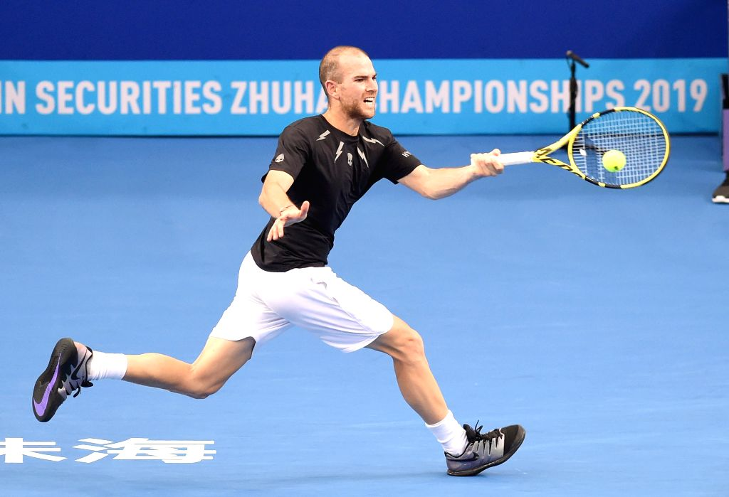 ZHUHAI, Sept. 27, 2019 - Adrian Mannarino of France competes during the men's quarterfinal match between Adrian Mannarino of France and Damir Dzumhur of Bosnia and Herzegovina at ATP Zhuhai ...