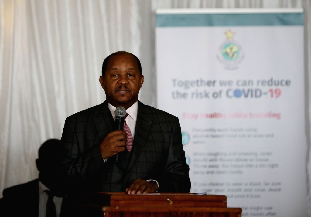 Zimbabwean health minister Obadiah Moyo addresses the launching ceremony for the country's preparedness and response plan against COVID-19, in Harare, Zimbabwe, ... - Obadiah Moyo