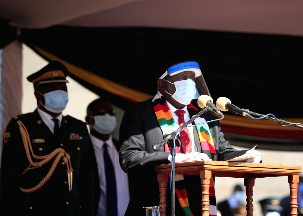 Zimbabwean President Emmerson Mnangagwa gives a speech during late Agriculture Minister Perrance Shiri's burial at the National Heroes Acre in Harare, Zimbabwe, on ... - Perrance Shir
