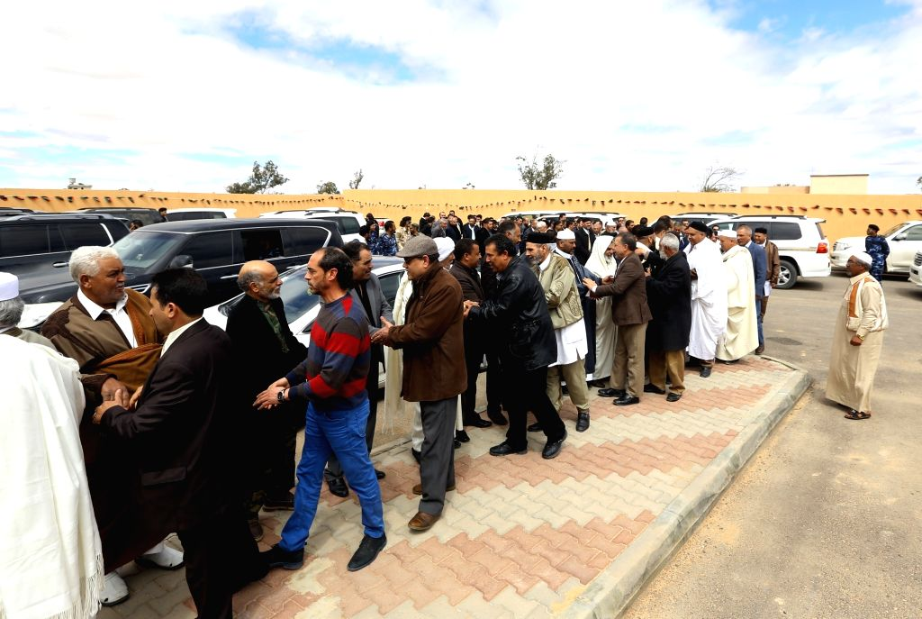 ZINTAN, March 29, 2018 - Participants attend the reconciliation meeting in Zintan of Libya on March 28, 2018. The Libyan city of Zintan on Wednesday hosted a reconciliation meeting with ...