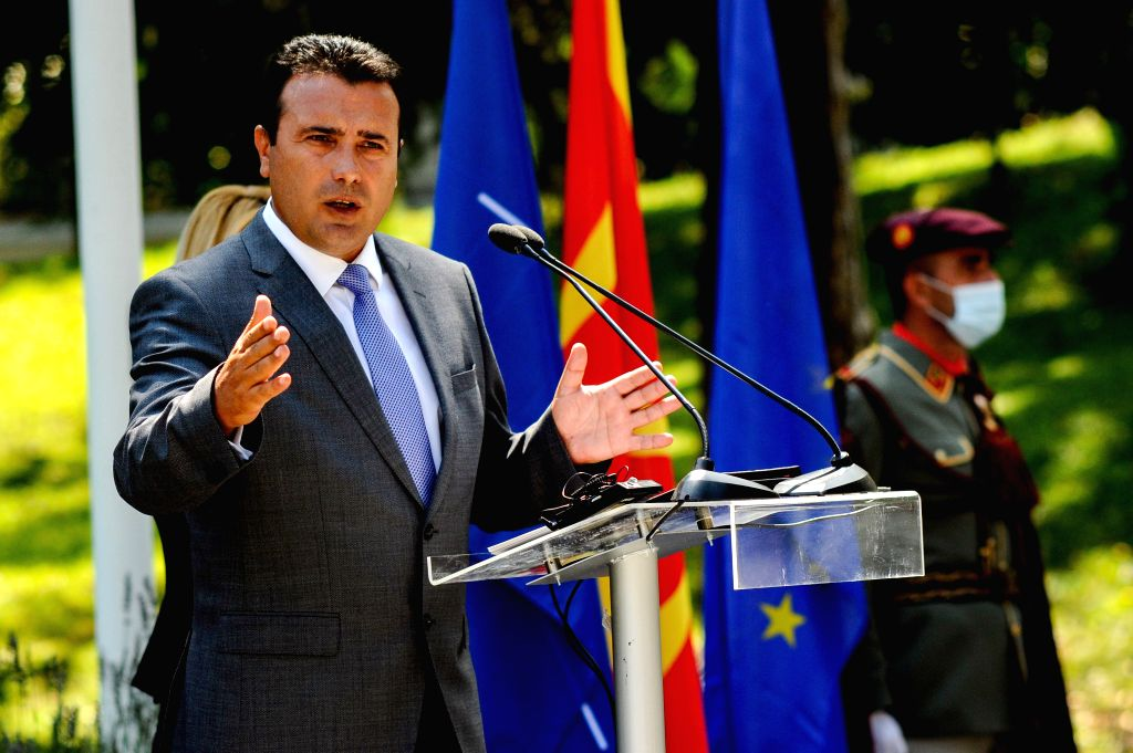 Zoran Zaev, leader of Social Democratic Union of Macedonia (SDSM), speaks to the press after receiving a mandate from President Stevo Pendarovski to form the new ...