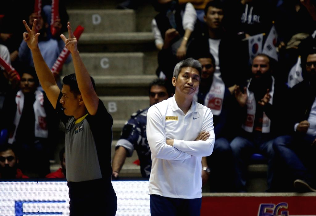 ZOUK MIKAEL, Feb. 25, 2019 - Kim Sang Shik (R), head coach of South Korea reacts during the FIBA Basketball World Cup 2019 Asian Qualifiers match between Lebanon and South Korea in Zouk Mikael, ...
