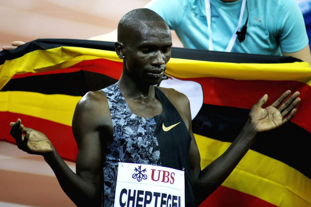 ZURICH, Aug. 30, 2019 - Joshua Cheptegei of Uganda reacts after winning the men's 5000 meters race at the IAAF Diamond League in Zurich, Switzerland, on Aug. 29, 2019.