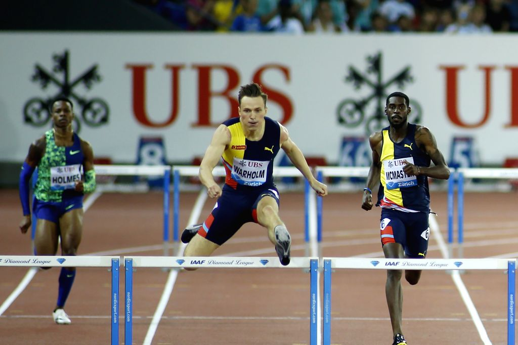 ZURICH, Aug. 30, 2019 - Karsten Warholm (C) of Norway competes during men's 400 meters hurdles at the IAAF Diamond League in Zurich, Switzerland, on Aug. 29, 2019.