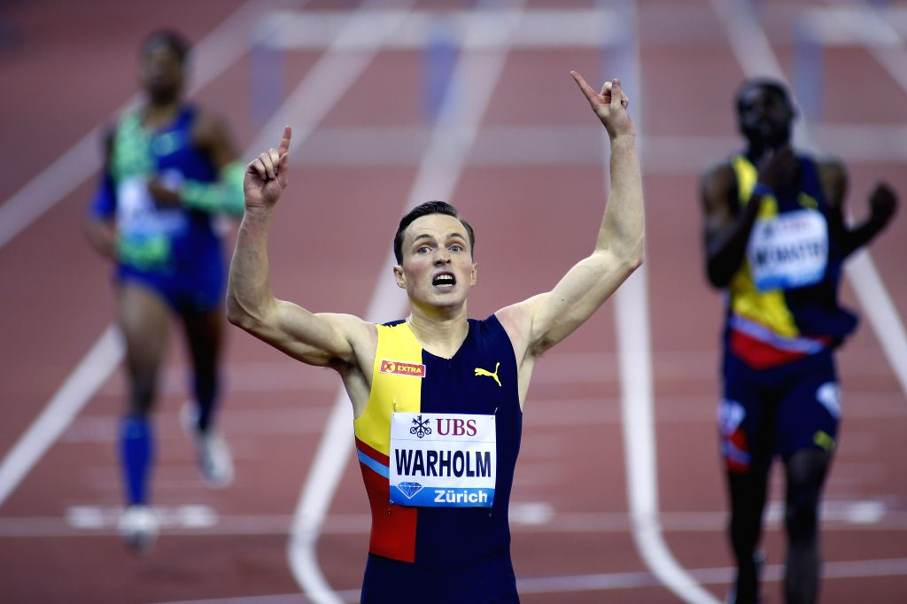 ZURICH, Aug. 30, 2019 - Karsten Warholm (C) of Norway celebrates after winning men's 400 meters hurdles at the IAAF Diamond League in Zurich, Switzerland, on Aug. 29, 2019.