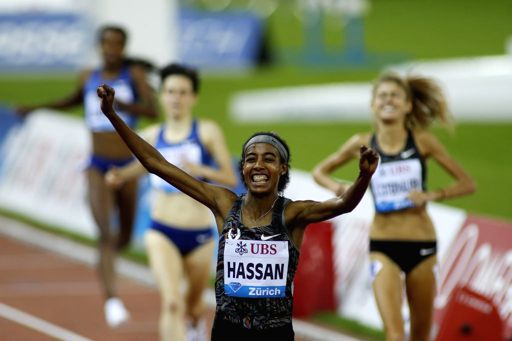ZURICH, Aug. 30, 2019 - Sifan Hassan (2nd R) of the Netherlands celebrates after winning women's 1500 meters race at the IAAF Diamond League in Zurich, Switzerland, on Aug. 29, 2019. - Sifan Hassan