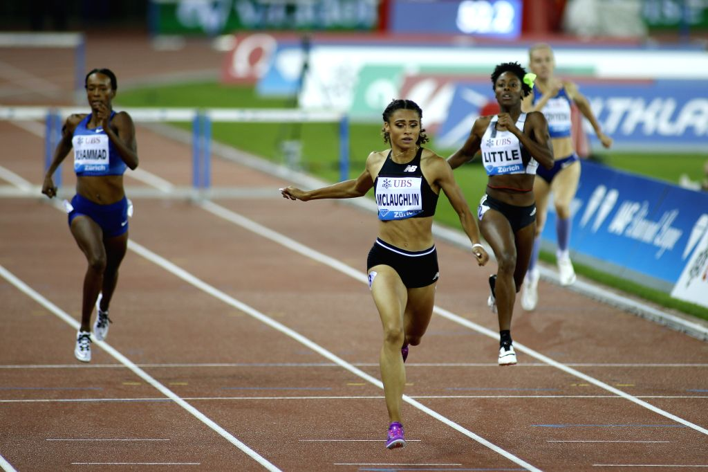 ZURICH, Aug. 30, 2019 - Sydney McLaughlin (2nd L) of the United States competes during women's 400 meters hurdles at the IAAF Diamond League in Zurich, Switzerland, on Aug. 29, 2019.