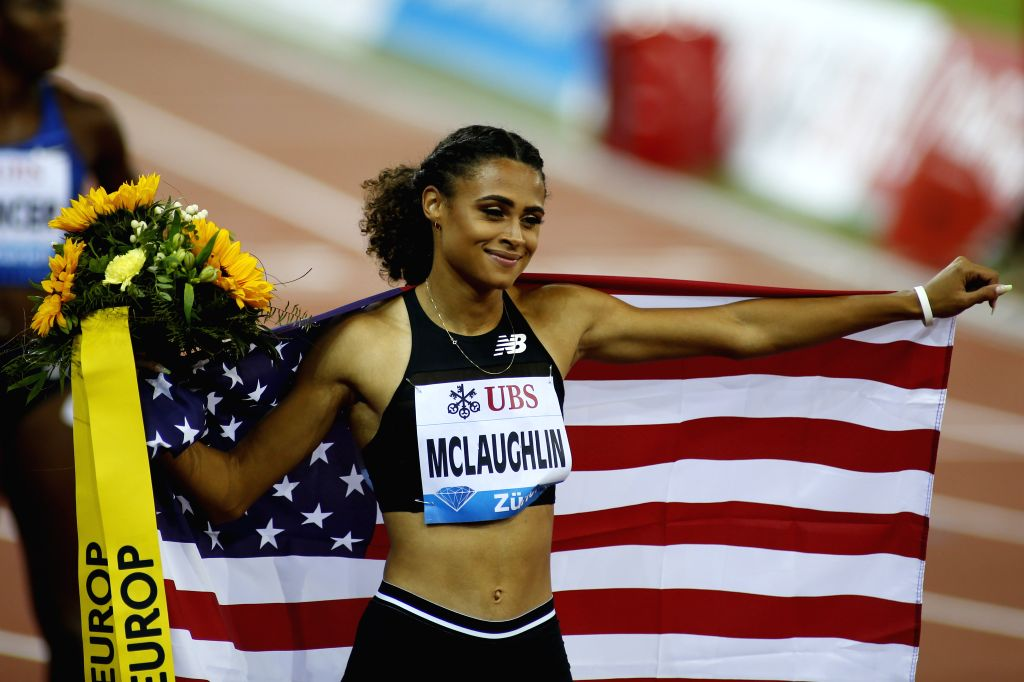 ZURICH, Aug. 30, 2019 - Sydney McLaughlin of the United States celebrates after winning women's 400 meters hurdles at the IAAF Diamond League in Zurich, Switzerland, on Aug. 29, 2019.