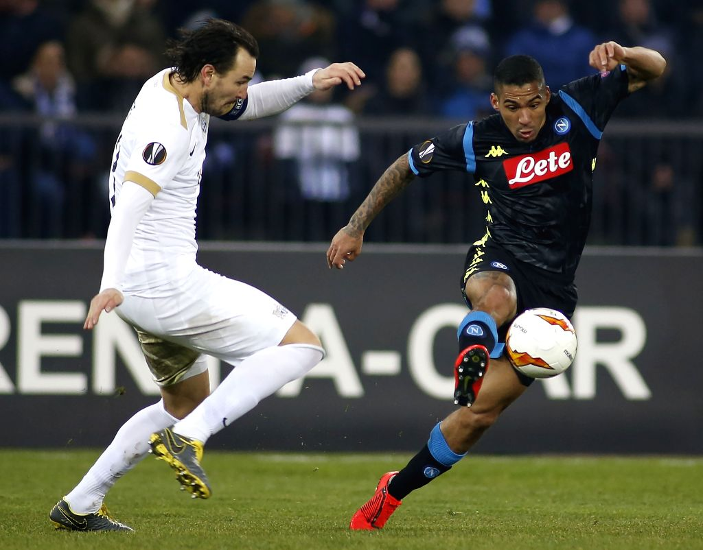 ZURICH, Feb. 15, 2019 - Zurich's Alain Nef (L) vies with Napoli's Allan during the UEFA Europa League round of 32 first leg soccer match between Switzerland's FC Zurich and Italian's SSC Napoli on ...