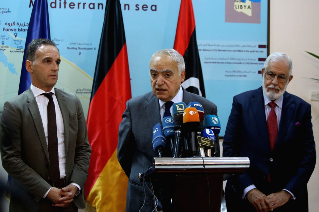 ZUWARA (LIBYA), Oct. 27, 2019 United Nations Special Envoy to Libya Ghassan Salame (C) speaks at a press conference in Zuwara, Libya, Oct. 27, 2019. German Foreign Minister Heiko Maas on ... - Heiko Maas