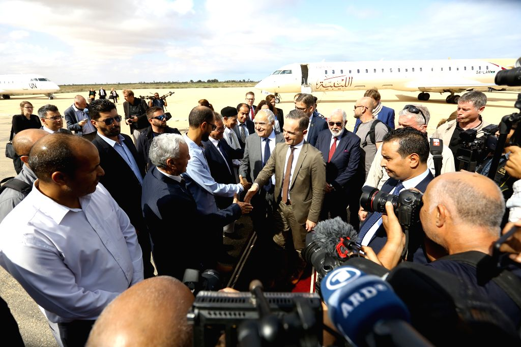 ZUWARA (LIBYA), Oct. 27, 2019 United Nations Special Envoy to Libya Ghassan Salame and German Foreign Minister Heiko Maas are welcomed upon arrival in Zuwara, Libya, Oct. 27, 2019. German ... - Heiko Maas