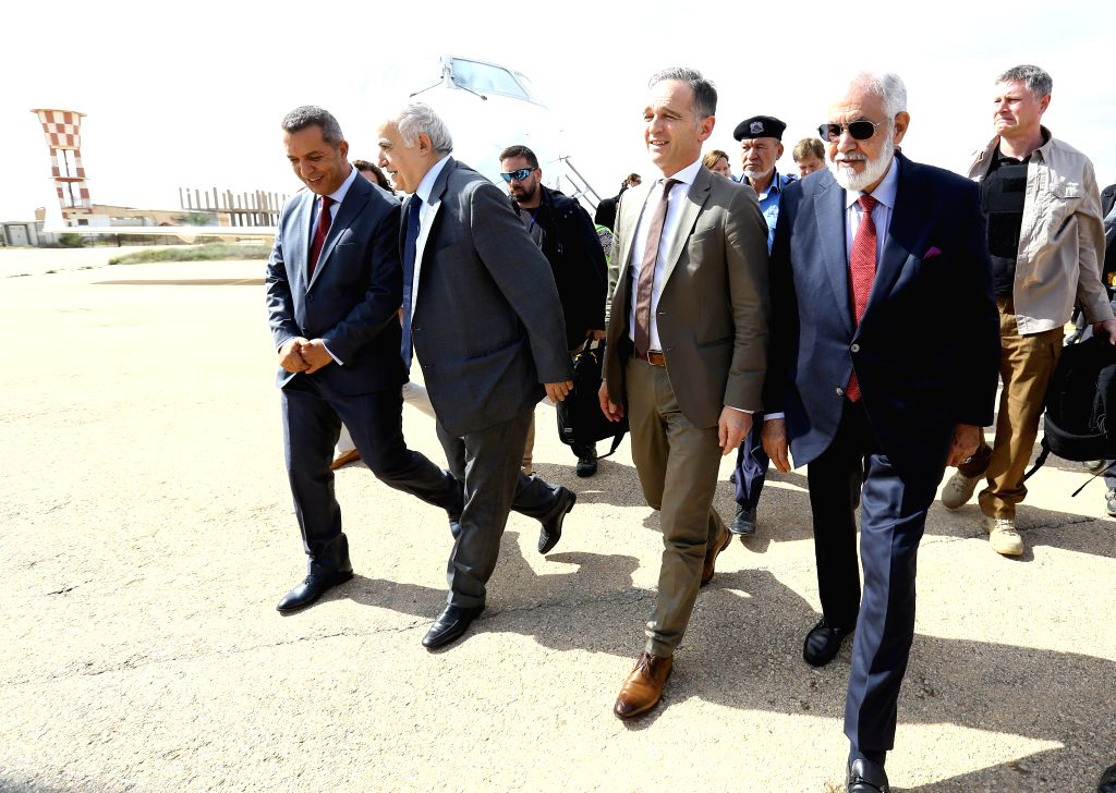 ZUWARA (LIBYA), Oct. 27, 2019 United Nations Special Envoy to Libya Ghassan Salame (2nd L, front) and German Foreign Minister Heiko Maas (2nd R, front) arrive in Zuwara, Libya, Oct. 27, ... - Heiko Maas