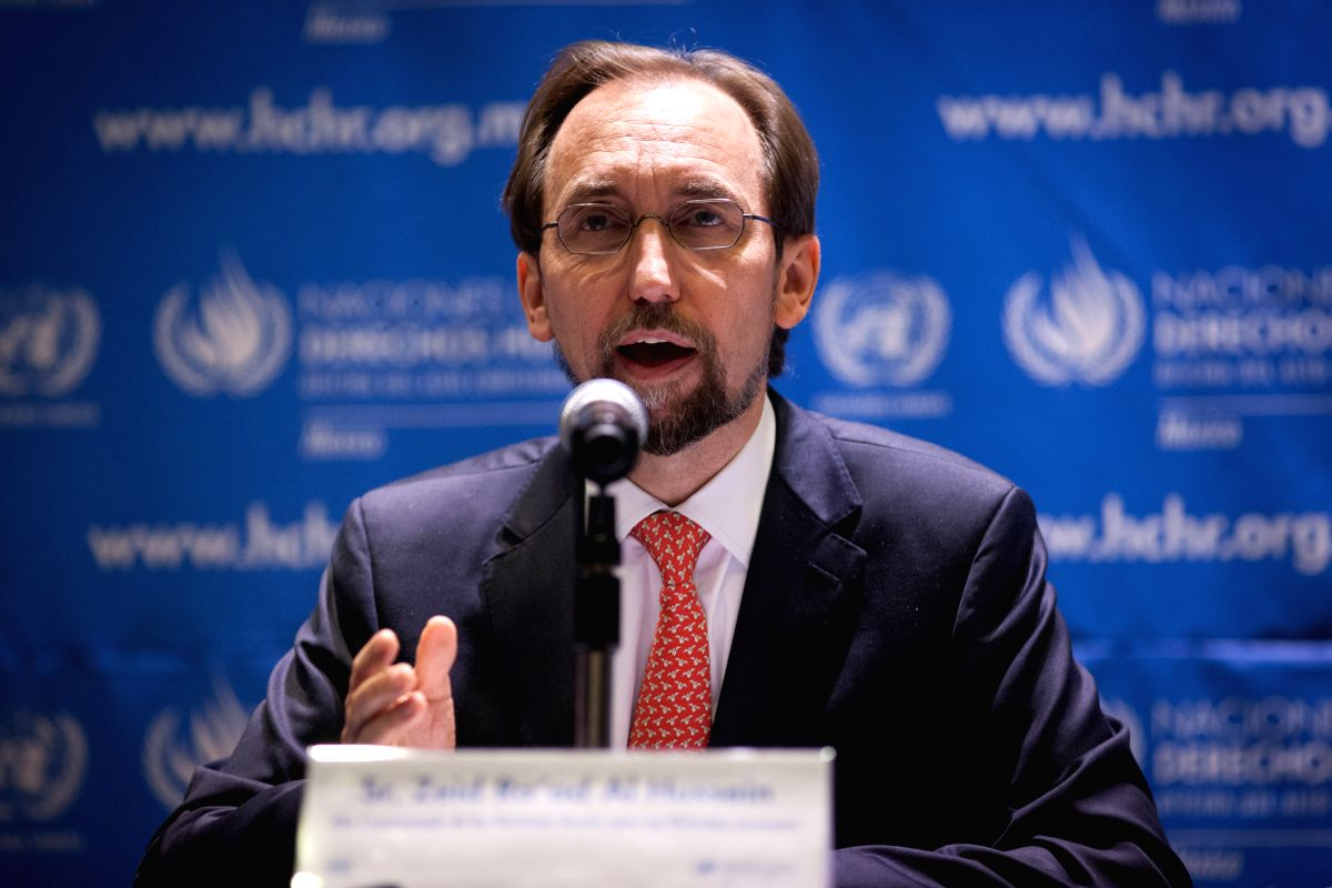 :(151008) --Zeid Ra'ad Al Hussein, United Nations (UN) High Commissioner for Human Rights, speaks at a press conference in Mexico City, capital of ...