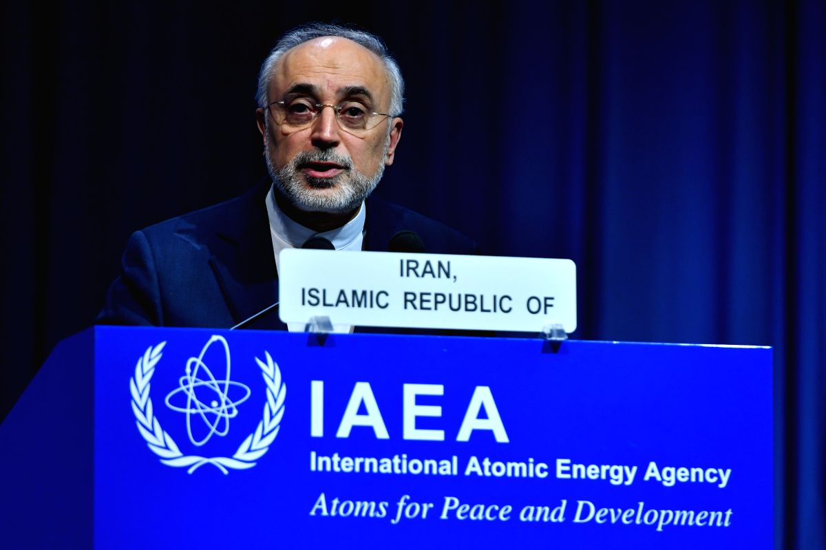 (180918) VIENNA, Sept. 18, 2018 (Xinhua) -- Head of the Atomic Energy Organization of Iran (AEOI) Ali Akbar Salehi addresses the 62nd General Conference of the International Atomic Energy Agency (IAEA) in Vienna, Austria, on Sept. 17, 2018.  (Xinhua/
