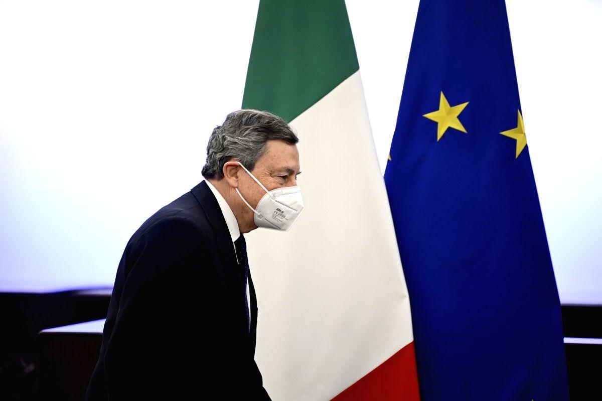 19 March 2021, Italy, Rome: Italian Prime Minister Mario Draghi arrives for a press conference after a cabinet meeting. Photo: Riccardo Antimiani/Pool Ansa/Lap/LaPresse via ZUMA Press/dpa/IANS