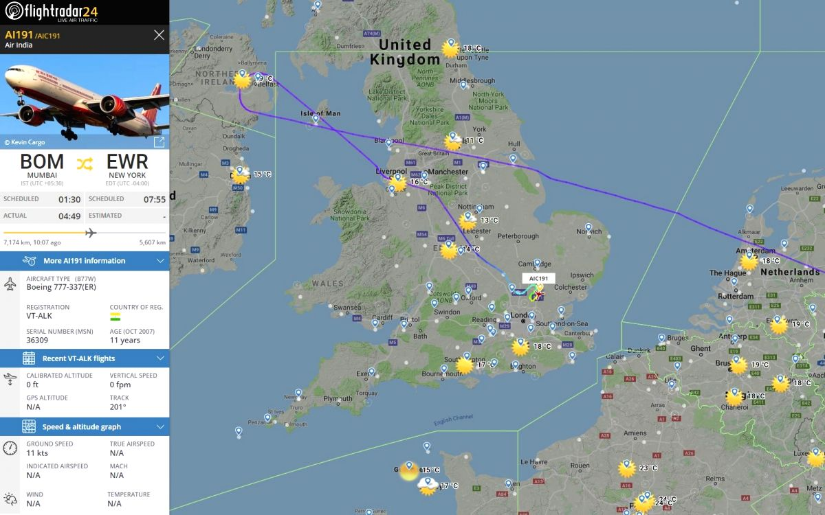 A bomb threat on Thursday forced Air India's Mumbai-Newark flight to land at the London Stansted Airport. (Photo: Twitter/@flightradar24)