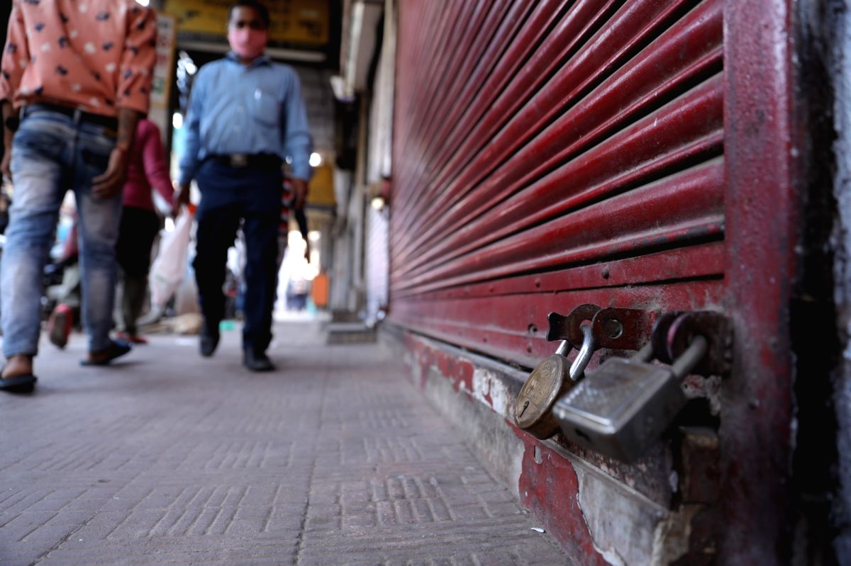 A closed shop during Bharat Bandh, called by The Confederation of All India Traders (CAIT) against GST rules, e-way bill and rising fuel prices, at Chawri Bazar in New Delhi, Friday,  26 Feb, 2021.
