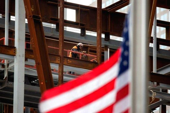 A construction worker works at the Ronald O. Perelman Performing Arts Center at the World Trade Center construction site, in New York, United States, Jan. 8, 2021. (Photo by Michael Nagle/Xinhua/ians)