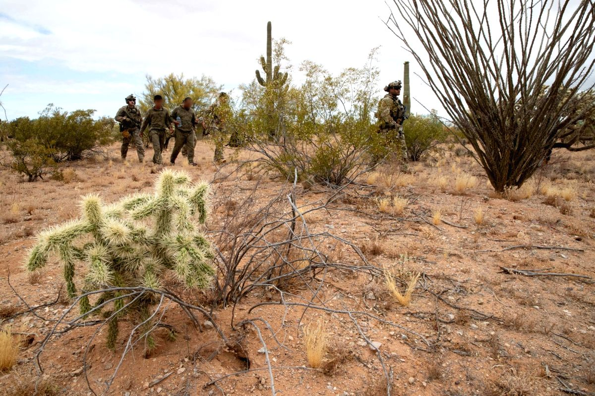 A file photo of a United States Customs and Border Patrol operation in a desert area in Arizona state near the border with Mexico in May 2019. (Photo: CPB/IANS)