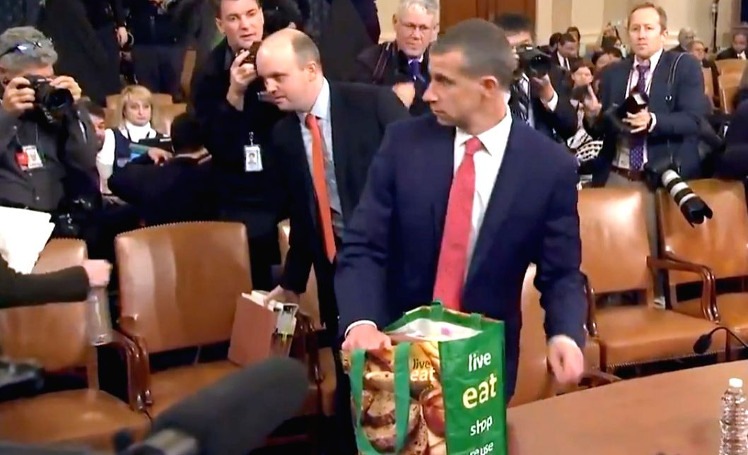 A lawyer representing the Republicans in the ongoing impeachment proceedings against US President Donald Trump before the House Judiciary Committee has come under social media spotlight after he was seen carrying a reusable grocery bag to the hearing