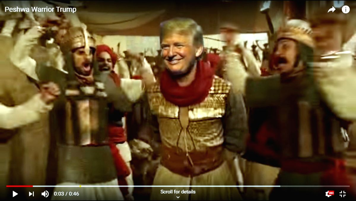 """A made-up viral video of US President Donald Trump dancing as Ranveer Singh on a """"Bajirao Mastani"""" track is trending on all social media platforms including Twitter and Instagram. (Photo Credit: Mad Liberals/YouTube)"""