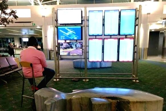 A man travelling from Oregon's Portland International Airport was caught playing popular battle royale game Apex Legends on the airport information monitor. (Photo Courtesy: Twitter)