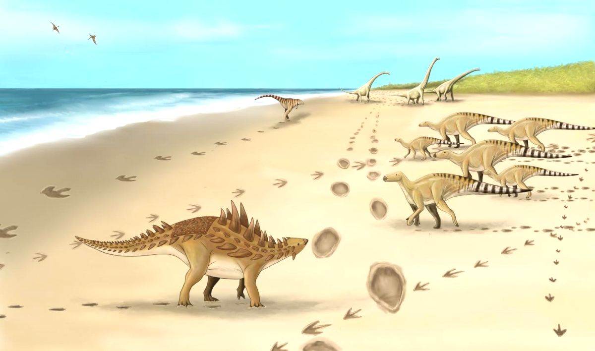 *A palaeo artist's impression of the dinosaurs and their footprints. (Credit: Megan Jacobs, University of Portsmouth)*