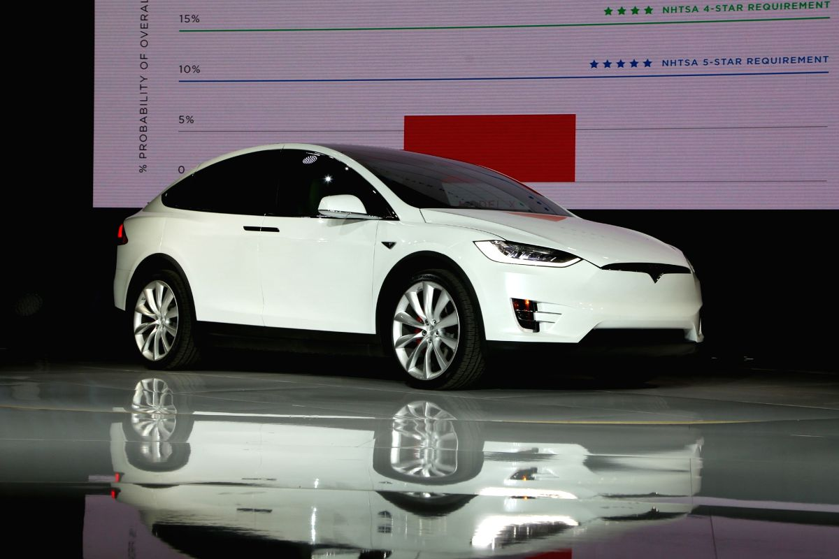 A Tesla Model X electric sports-utility vehicle