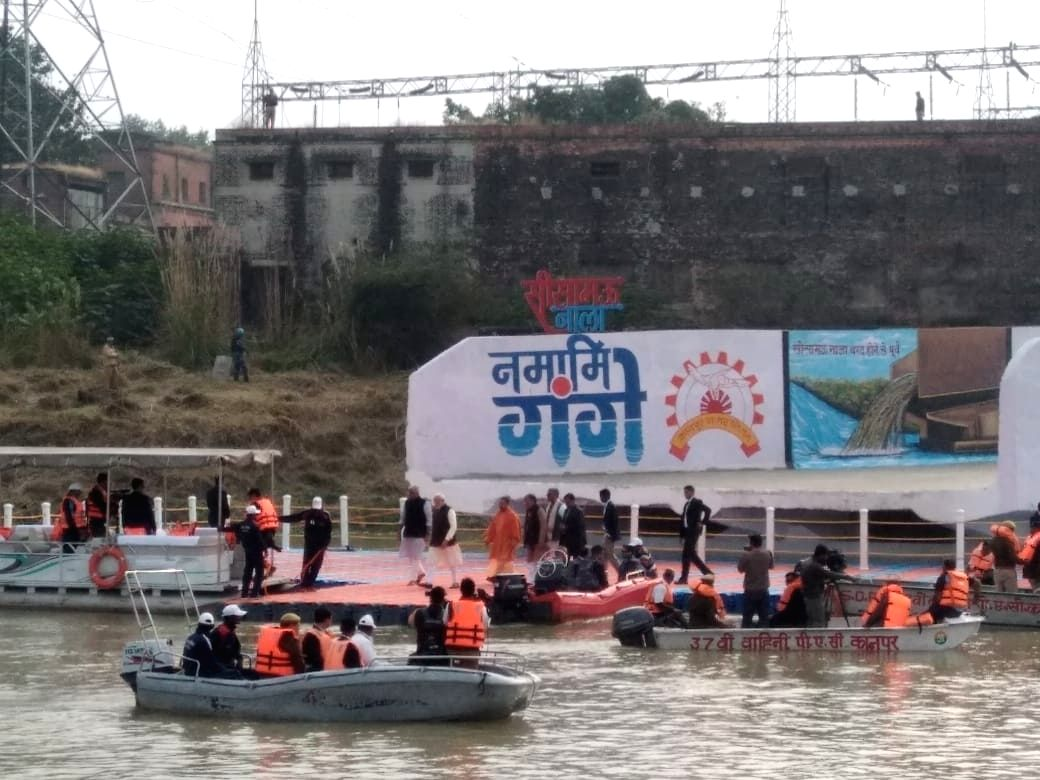 A view of Atal Ghat in Kanpur where Prime Minister Narendra Modi took a boat ride in river Ganga after chairing the maiden meeting of National Ganga Council on Friday.