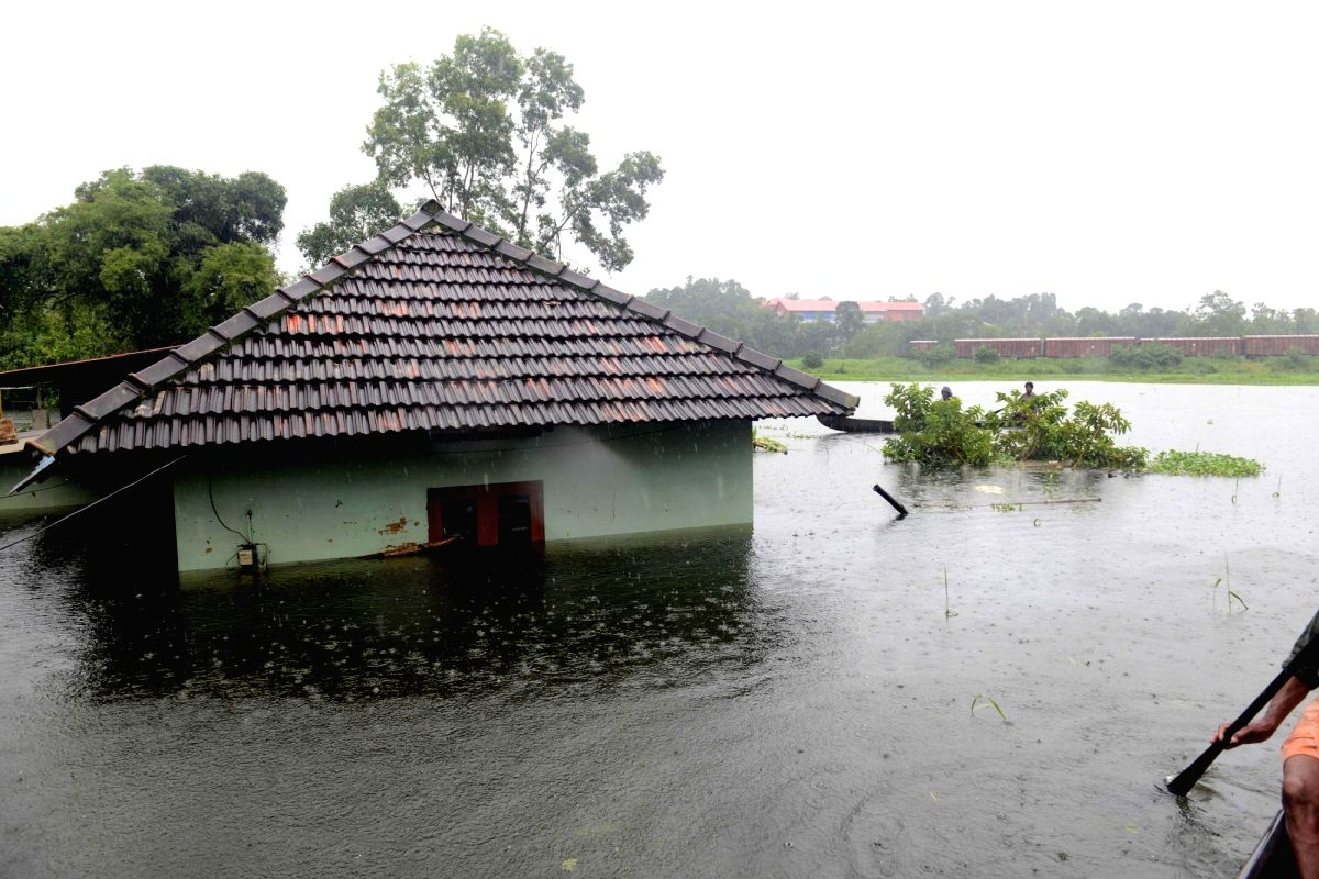 Kottayam: A view of flood hit Kottayam district of Kerala, on July 20, 2018.