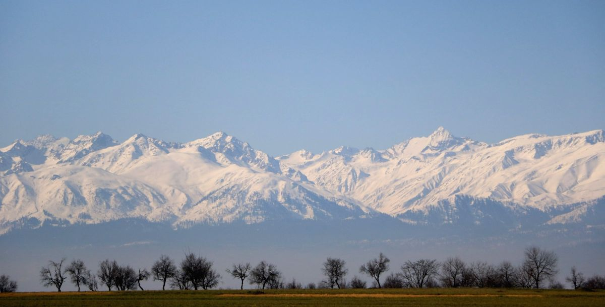 A view of snow covered Gulmarg range as seen from Pampore of Jammu and Kashmir.