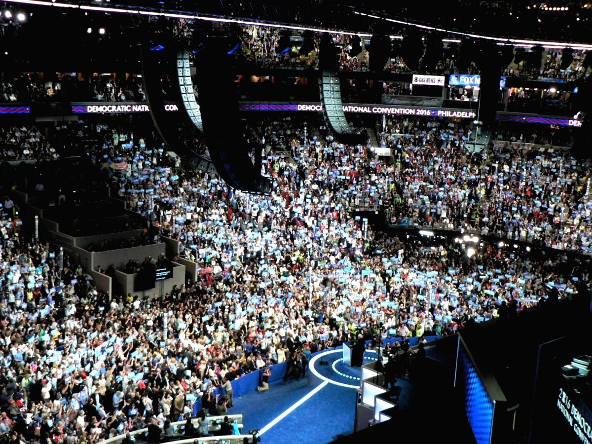 A view of the 2016 Democratic National Convention with thousands on the floor and in the stands of a packed Philadelphia stadium when Hillary Clinton was nominated to run for president. This year it will be a subdued affair with only a few hundred at