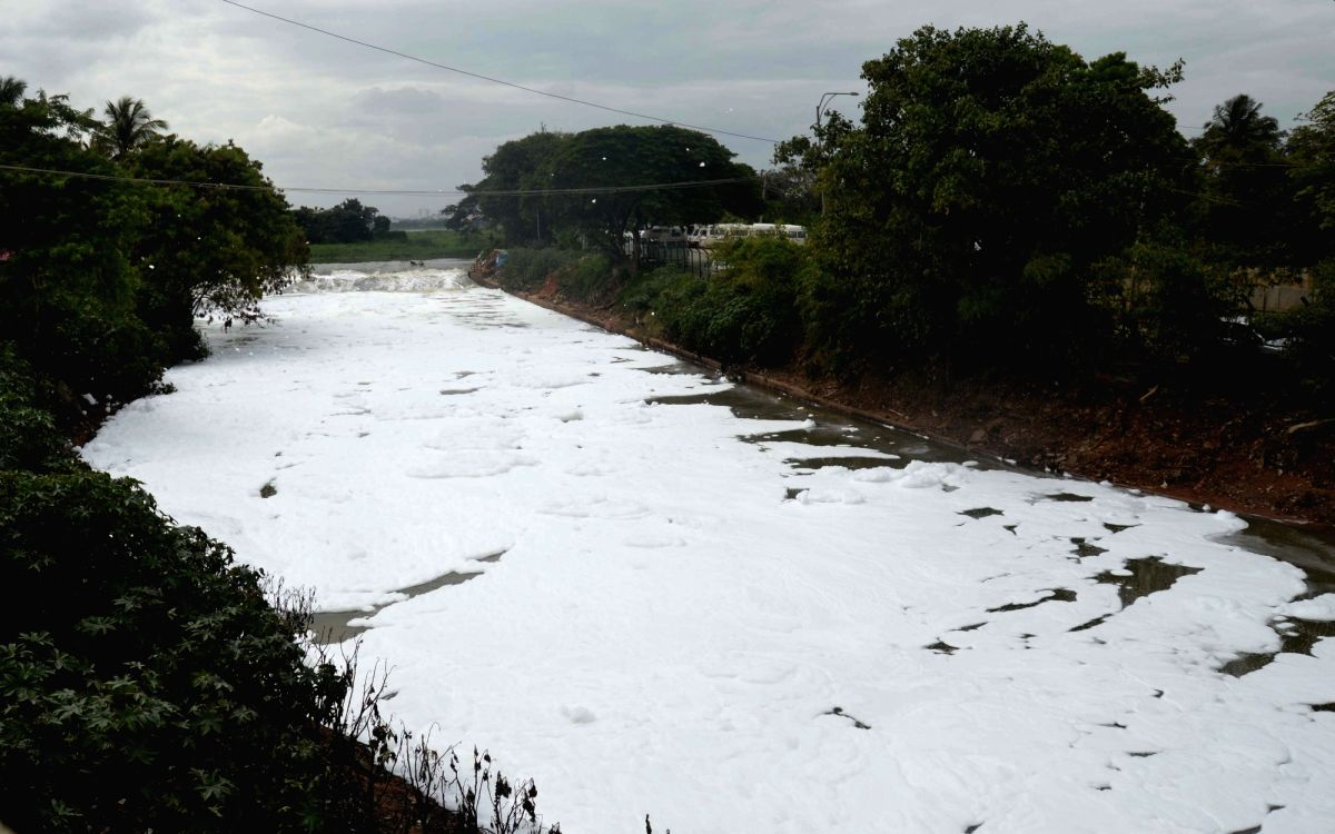 A view of the frothing Bellandur Lake in Bengaluru on Aug 17, 2017.