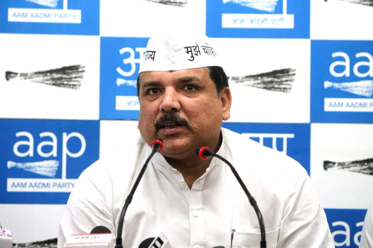 Aam Aadmi Party (AAP) leader Sanjay Singh addresses a press conference where Indian Army veteran Captain Shalini Singh joined the party, in New Delhi, on April 2, 2019. (Photo: IANS/AAP)