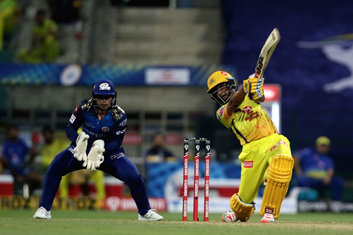 Abu Dhabi: Ambati Rayudu of the Chennai Superkings plays a shot during match 1 of season 13 of the Dream 11 Indian Premier League (IPL) between the Mumbai Indians and the Chennai Superkings held at the Sheikh Zayed Stadium, Abu Dhabi  in the United A
