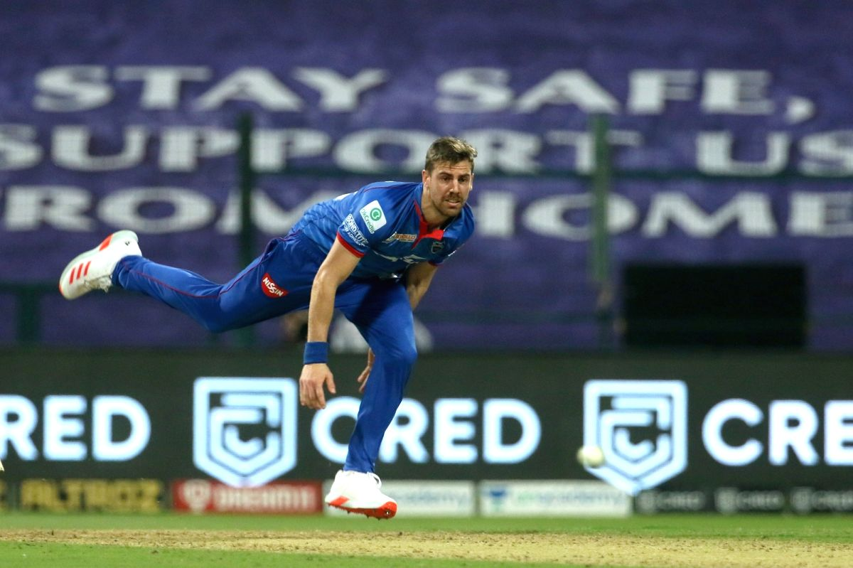 Abu Dhabi: Anrich Nortje of Delhi Capitals bowls during match 11 of season 13 of the Dream 11 Indian Premier League (IPL) between the Delhi Capitals and the Sunrisers Hyderabad held at the Sheikh Zayed Stadium, Abu Dhabi in the United Arab Emirates o