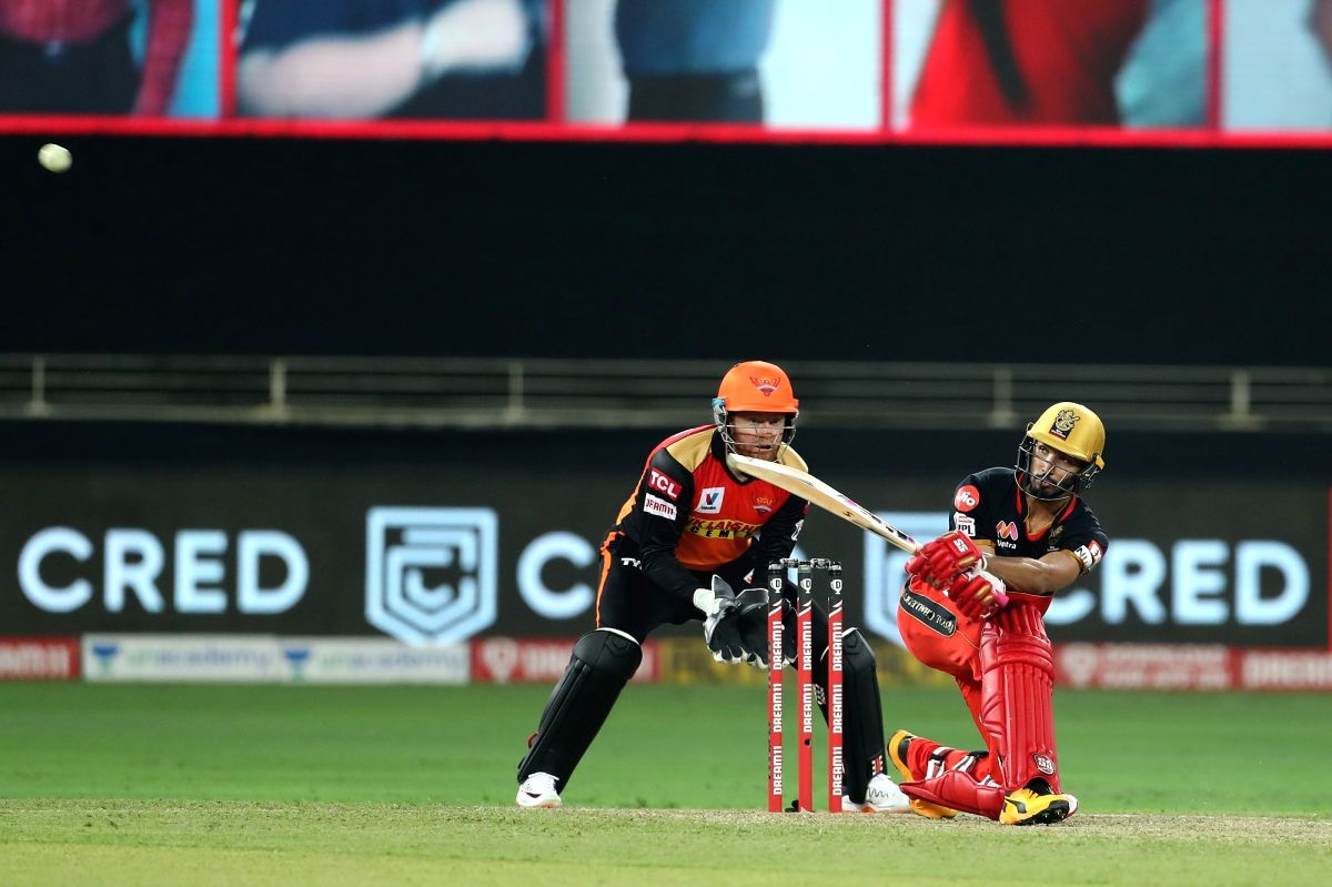 Abu Dhabi: Devdutt Padikkal of Royal Challengers Bangalore brings up his fifty during match 3 of season 13 of the Dream 11 Indian Premier League (IPL) between Sunrisers Hyderabad and Royal Challengers Bangalore held at the Dubai International Cricket