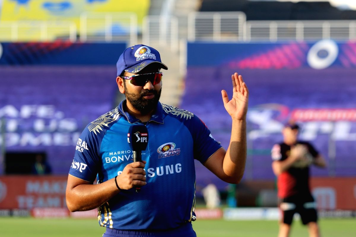 Abu Dhabi: Dinesh Karthik captain of Kolkata Knight Riders and Rohit Sharma captain of Mumbai Indians during the toss of the match 5 of season 13 of the Dream 11 Indian Premier League (IPL) between the Kolkata Knight Riders and the Mumbai Indians hel