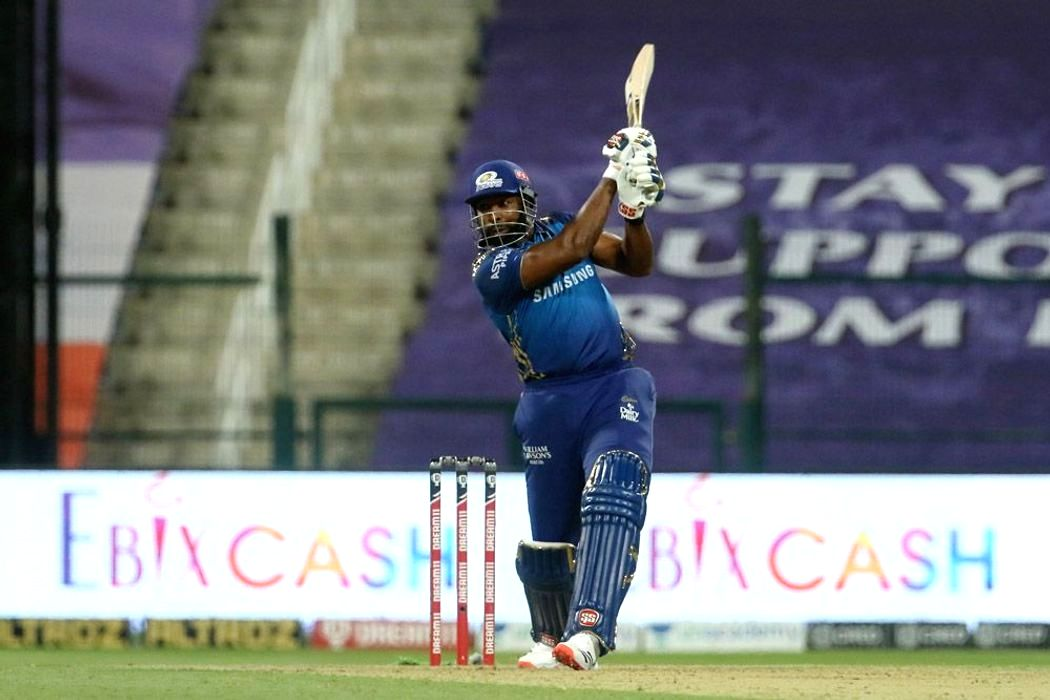 Abu Dhabi: Kieron Pollard of Mumbai Indians plays a shot during match 13 of season 13 of the Indian Premier League (IPL) between the Kings XI Punjab and the Mumbai Indians at the Sheikh Zayed Stadium, Abu Dhabi in the United Arab Emirates on the 1st