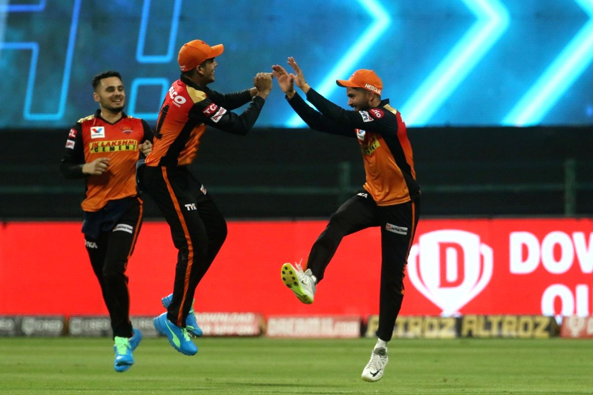 Abu Dhabi: Manish Pandey of Sunrisers Hyderabad celebrates after he takes a catch of Shimron Hetmyer of Delhi Capitals during match 11 of season 13 of the Dream 11 Indian Premier League (IPL) between the Delhi Capitals and the Sunrisers Hyderabad hel