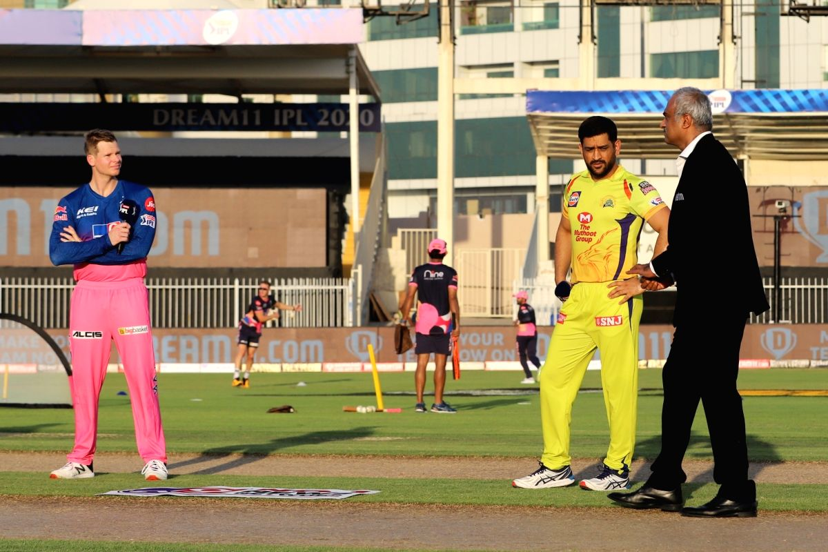 Abu Dhabi: MS Dhoni captain of Chennai Superkings and Steve Smith captain of Rajasthan Royals during Toss before the match 4 of season 13 of the Dream 11 Indian Premier League (IPL) between Rajasthan Royals and Chennai Super Kings held at the Sharjah