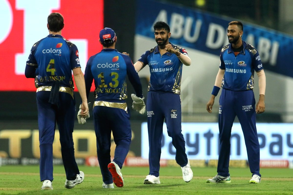 Abu Dhabi: Mumbai Indians players celebrates the wicket of Eoin Morgan of Kolkata Knight Riders during match 5 of season 13 of the Dream 11 Indian Premier League (IPL) between the Kolkata Knight Riders and the Mumbai Indians held at the Sheikh Zayed