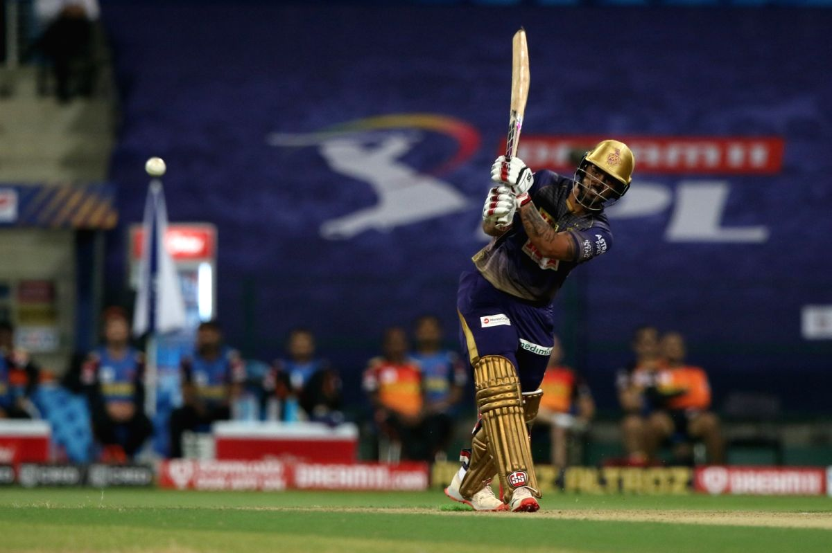 Abu Dhabi: Nitish Rana of Kolkata Knight Riders plays a shot during match 8 of season 13 of Indian Premier League (IPL) between the Kolkata Knight Riders and the Sunrisers Hyderabad held at the Sheikh Zayed Stadium, Abu Dhabi in the United Arab Emira