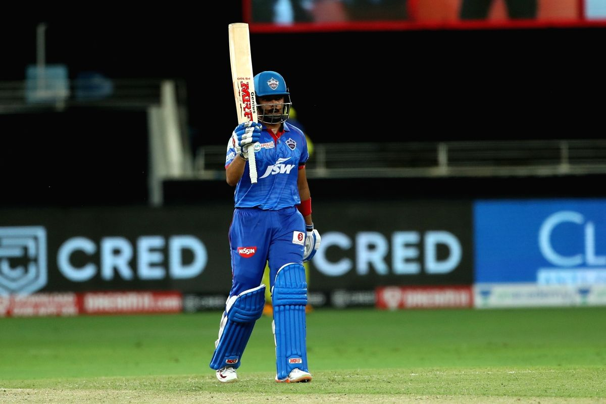 Abu Dhabi: Prithvi Shaw of Delhi Capitals celebrates his fifty during match 7 of season 13 of the Dream 11 Indian Premier League (IPL) between Chennai Super Kings and Delhi Capitals held at the Dubai International Cricket Stadium, Dubai in the United