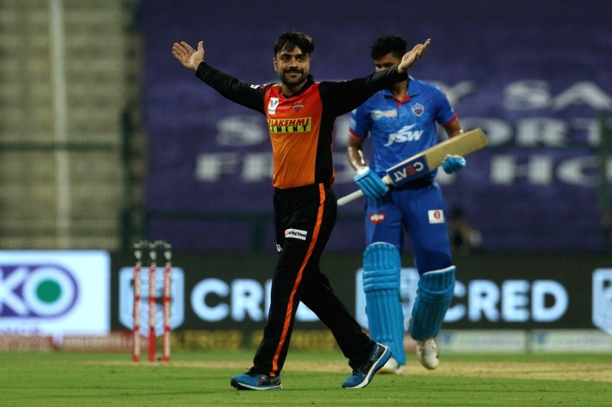 Abu Dhabi: Rashid Khan of Sunrisers Hyderabad celebrates the wicket of Shreyas Iyer captain of Delhi Capitals during match 11 of season 13 of the Dream 11 Indian Premier League (IPL) between the Delhi Capitals and the Sunrisers Hyderabad held at the