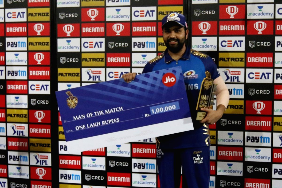 Abu Dhabi: Rohit Sharma captain of Mumbai Indian wins man of the match award during match 5 of season 13 of the dream 11 of Indian Premier League (IPL) between the Kolkata Knight Riders and the Mumbai Indians held at the Sheikh Zayed Stadium, Abu Dha