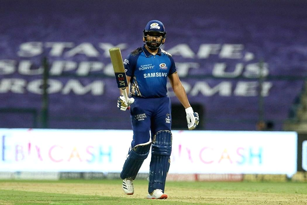 Abu Dhabi: Rohit Sharma captain of Mumbai Indians raises his bat after scoring a fifty during match 13 of season 13 of the Indian Premier League (IPL) between the Kings XI Punjab and the Mumbai Indians at the Sheikh Zayed Stadium, Abu Dhabi in the Un