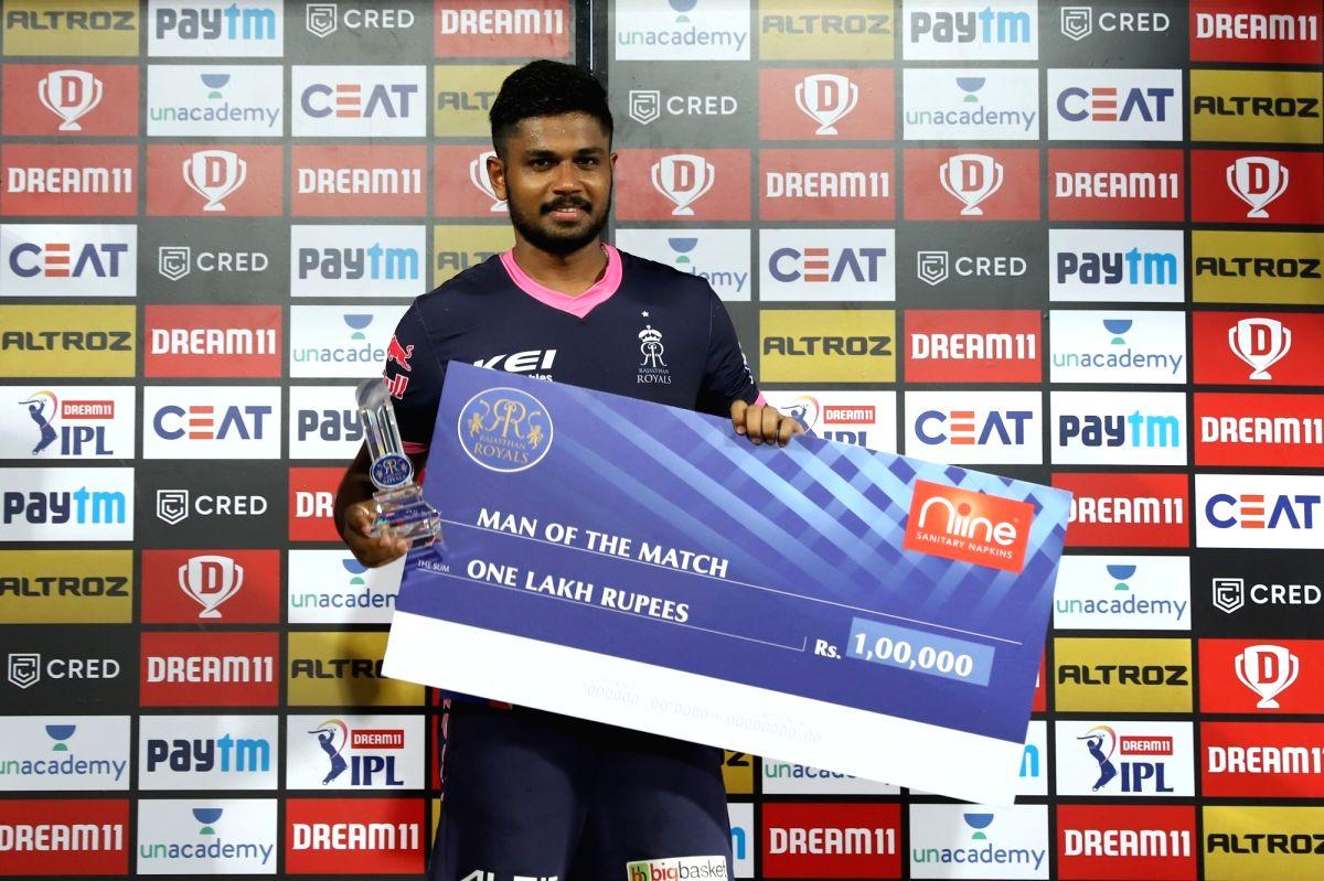 Abu Dhabi: Sanju Samson of Rajasthan Royals receives Man of the Match Award during match 4 of season 13 of the Dream 11 Indian Premier League (IPL) between Rajasthan Royals and Chennai Super Kings held at the Sharjah Cricket Stadium, Sharjah in the U